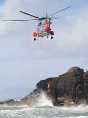 Rescue ! (kappacygni) Tags: sea rescue rocks cornwall waves tide navy helicopter seaking airlift royalnavy rnasculdrose airsearescue polurriancove