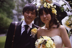 Mika & Toki (Jason_Combs) Tags: flowers wedding people woman man guy film girl japan japanese 50mm tokyo couple  iidabashi     rokkor kodakportra400     minoltasrt102 labrasserie