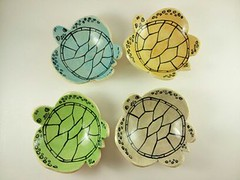 Sea Turtle Bowls (Elizabeth's Pottery) Tags: blue summer green art beach water yellow island grey ceramics handmade turtle bowl coastal gift pottery seaturtle beachhouse loggerhead dinnerware bowlset
