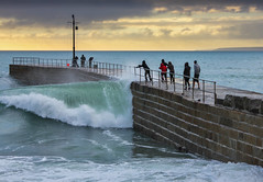 Perilous pier (snowyturner) Tags: sea sky fence coast pier cornwall waves spray atlantic breakers swell soaking onlookers porthleven