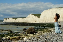 Photographing the Seven Sisters (brightondj - getting the most from a cheap compact) Tags: uk sea sky people beach sussex coast chalk photographer stones pebbles cliffs dslr sevensisters birlinggap southdownsway