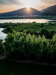 PhoTones Works #8012 (TAKUMA KIMURA) Tags: photones olympus air a01 takuma kimura   landscape scenery natural river setting sun dusk japan okayama summer mountain boat ship