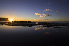 Day Break (__Jase__) Tags: gariebeach sunrise newday reflection reflections rock pools clouds daybreak beach nsw sydney ilovesydney royalnationalpark starburst sunburst beautiful morning