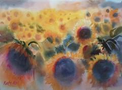 Field of sunflowers (katekos) Tags: flowers summer art floral watercolor painting sunflowers watercolour kwiaty floralwatercolor katekos