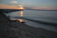Sunset at Matapeake Beach, Kent Island, MD (ricepeter) Tags: maryland beach sunset waves jetty ocean sky driftwood