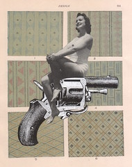 19th August - los dias contados : gun pose (kurberry) Tags: losdiascontados collage cutpaste collageaday vintageephemera gun design bathing suit glamor