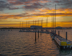 Port Solent Mooring stich (1 of 1) (Geoffrey Radcliffe /radcliffegeoffrey@yahoo.co.uk) Tags: geoffrey radccliffe port solent portchester hampshire england uk sunset vibrant colour sailing boats yachts estuary explore sea sun september yellow orange seascape colourfull water nikon d700 lightroom5 panorama