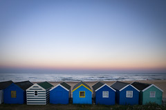 Southwold beach huts at dusk (Southwold Photography) Tags: suffolk beach beachhut beauty blue calm canon1740 color colorful colour dusk eastanglia england holiday light sea seaside serene sony sonya7 southwold summer uk vacation