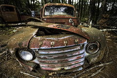 Junk Yard Dawg (Frank C. Grace (Trig Photography)) Tags: junkyard car ford abandoned decay rust crusty rot filth forest woods grill auto forgotten