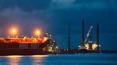 Aziëhaven Westpoort (Skylark92) Tags: ship industrial industry harbor westpoort amsterdam holland netherlands nederland platform crane dusk oil tanker