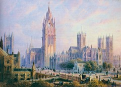 Imperial Monumental Halls and Tower - view from the north (1904) (ketrin1407) Tags: imperialmonumentalhalls london westminster whitehall westminsterabbey housesofparliament palaceofwestminster architecture unbuilt tower