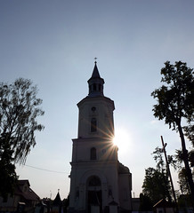 The Light - at Koci pw. w. Trjcy (roomman) Tags: 2016 poland podlasie podlachia region east church tower building contrast against sun sunstar star effect silhouette nice shape suprasl supral koci pw w trjcy biaystok bialystok