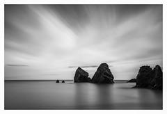 Ballydwane Sea Stack (Minibert93) Tags: seastack shoreline ballydwane waterford blackwhite ireland longexposure water rocks reflections