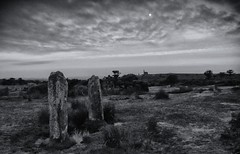 Pipers at the Gate of Dawn... (Go placidly amidst the noise and haste...) Tags: thehurlers minions cornwall southwest westcountry thepipers standingstones neolithic bronzeage dawn blackandwhite mono minechimney mine enginehouse silverefex moon blackwhitepassionaward