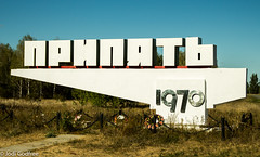 Pripyat sign (Dave and Jodi Piddington) Tags: chernobyl ukraine holiday decay abandonedbuildings death history nucleardisaster accident travel dark tourism darktourism photography architecture nuclear disasters adventure kiev blackandwhite