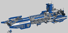 Strike Cruiser Colors WIP 2 (OrangeKNight) Tags: grey ship lego parts space gothic battle 40k knights huge warhammer strike marines fleet investment cruiser bfg 40000 uper