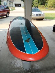 """10'5"""" nose rider pin tail with thrusters, 32 inch v bottom slight rocker with considerable planing surface for great lake waves, 24lbs finished (thirdcoasthomes) Tags: west surf michigan board paddle shapes custom sup"""