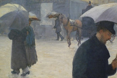 Gustave Caillebotte, Paris Street; Rainy Day, distent horse