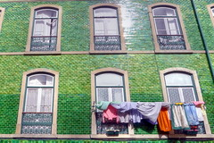 lisbon, greenhouse (valeriadalua) Tags: windows green portugal facade lisboa lisbon tiles laundry balconies washing verdes janelas azulejos