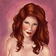 Red hair (Anna Luiza Arago) Tags: red woman illustration hair mulher vermelho freckles ilustrao cabelo ruiva sardas