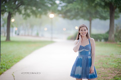 (eddies images) Tags: blue portrait people cute girl beautiful smile fog female nc model nikon pretty dress bokeh f14 85mm naturallight bella keely brunette caucasian 85mmf14 d700 d3d700
