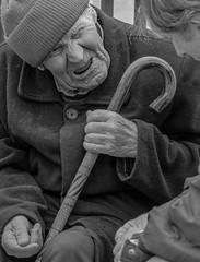 Shylock (ybiberman) Tags: portrait man israel jerusalem oldman beggar walkingstick oldcity jewishquarter converstation