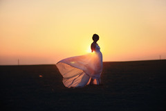 (-Fearless-) Tags: sunset summer portrait sun selfportrait girl silhouette night self giant golden glow gown setting