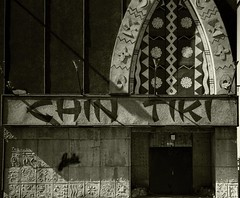 Chin Tiki Restaurant (Now Demolished)--Detroit MI (pinehurst19475) Tags: city urban bw facade movie restaurant blackwhite detroit entrance kitschy demolished entry polynesian 8mile vanished chintiki razed blackandwhitephotos casscorridor detroitarchitecture vanisheddetroit