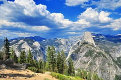 Glacier Point - Yosemite National Park (faungg) Tags: park travel blue trees sky usa mountains west green nature rock clouds landscape us nikon scenery view unitedstates rocky national yosemite western halfdome    18200  d90     faungg