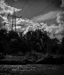 Rivers, Pylons, Clouds. (CWhatPhotos) Tags: pictures above uk england sky sun white black monochrome lines sunshine clouds canon river dark that lens eos photo picnic skies shadows shine with image zoom cloudy photos pics north over picture pic cable images pylon east photographs cables 7d area dslr pylons which has 1740mm 1740 malton contain haed shadowed lseries containing browney cwhatphotos pjotograph