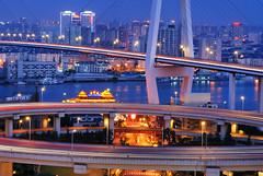 Nanpu Bridge (Brady Fang) Tags: china longexposure bridge night river boat nikon shanghai huangpu nanpu d80 fangwei fangweisoton bestcapturesaoi flickraward5 flickrawardgallery fangweihust