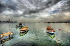 Izmir (Nejdet Duzen) Tags: trip travel sea cloud reflection turkey boat türkiye deniz sandal warship izmir bulut yansıma turkei seyahat inciraltı savaşgemisi mygearandme