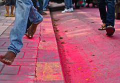 Happy feet (shutterbag_dt) Tags: pink red people india feet colors yellow jump shoes crowd procession