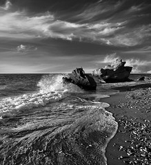 ECHOES B/W (explore) (kenny barker) Tags: sea bw seascape monochrome landscape lumix rocks greece rhodes rhodos panasoniclumixgf1 kennybarker welcomegreece