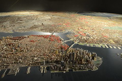 Queens Museum of Art | The Panorama of the City of New York | overview from west of lower Manhattan, including the twin towers of the World Trade Center, the Empire State Building, the Brooklyn & Manhattan Bridges, Governors Island, Statue of Liberty, etc