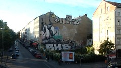 View from U1 Subway Kreuzberg, Berlin (luciwest) Tags: streetart berlin train kreuzberg germany subway deutschland zug ubahn u1 spree videostill elevatedtrain oranienstrasse roa oberbaumbruecke webseries inaberlinminute