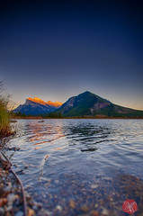Setting sun lights the peaks.. (Kasia Sokulska (KasiaBasic)) Tags: travel sunset sky lake canada mountains fall landscape nationalpark alberta banff rockymountains vermilionlakes