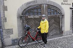 Leaving Rothenburg (Runemaker) Tags: patricia rothenburg rothenburgobdertauber bavaria bayern germany deutschland radfahren radeln cycling bicycling bicycle door doorway tr tor cobblestone street strasse strase hotel markusturm altmhl radweg