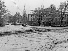 Winter in Stettin. (TomasLudwik) Tags: winter snow snowing zima snieg szczecin stettin bw blackandwhite