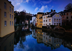Dusk in Grund (charlottebrettphotography) Tags: cityscape twilight reflections architecture city bluehour dusk travel europe luxembourgcity luxembourg grund