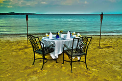 Ready For Dinner At Water's Edge In Jamaica (gmsphoto) Tags: beauty inner table setting sunset romantic quiet chairs water sand torches jamaica isolation secluded caribbean relaxation tranquilscene shore fantasy idyllic love peace