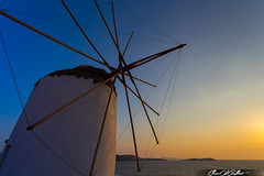 Facing the wind (Clear Of Conflict) Tags: mykonos greece grecia isla island seascape windmill sunset atardecer sundown dusk molino cicladas cyclades color colour colours colors canon 6d 1740 sky