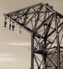 Crane - Port - Marina Area - Valencia (Creamtine Effect) (Canon PowerShot G1X) (1 of 1) (markdbaynham) Tags: valencia valencian port marina spain spainish espana es espanol city urban metropolis canon canonties powershot g1x crane creamtone