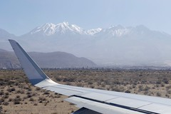 Take off in Arequipa Airport Peru with Volcano Chachani in the back (roli_b) Tags: take off takeoff start starting aqp arequipa international airport peru aeropuerto aeroport flughafen lan airbus a320 winglets window view vista chachani vulcan volcan volcano mountain snowtopped berge snow topped travel panoramic panorama 2016 july