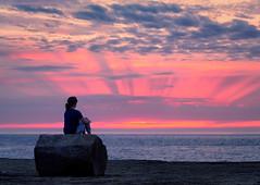 Portland Bill Sunset (Peter McClintock) Tags: a7r a7rii clouds dorset england europe family hannah hannahyoung jurassiccoast people photography portlandbill sea seascape sky sony sonya7rii sunset uk unitedkingdom rays weymouthandportlanddistrict gb