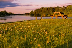 Picnic at the river (Justin Strackbein) Tags: sweden schweden dalven borlnge sunset sonnenuntergang golden houre blaue stunde wiese meadow bank tisch table picknick picnic fluss river ufer riverside