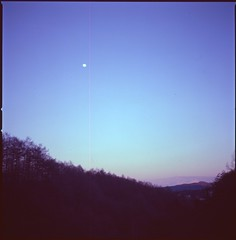 (bensn) Tags: hasselblad 500cm carl zeiss 80mm f28 film velvia 100 at200 medium format japan gunma moon mountains evening sky