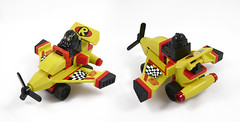 Mini Racers: Rogue Five (Unijob Lindo) Tags: lego yellow black red mini miniature kart car vehicle racing mario xalax racers leg godt plane wings zeti r robin flag wheels tiny microracers micro fighters mighty micros propeller slope turbo fig figure custom goggles villain