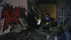 Bombing Run (Kyle Hardisty) Tags: kyle hardisty flickr photography 2016 lego macro microscale minifig fig minifigure moc creation depth field canon outside outdoors graffiti tagging bombing run krylon ea ghost youtube spray paint can stickerbombing