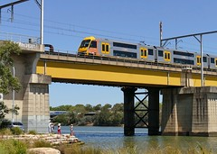 Waratah on bridge (sth475) Tags: railway railroad train urban suburban commuter coach car electric multipleunit emu doubledeck bilevel aset waratah dedi hitachi changchun a41 seta41 meadowbankbridge johnwhittonbridge bridge viaduct river water tidal parramattariver meadowbank sydney nsw australia summer
